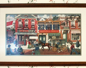 Crewel Embroidery, Framed Needlework, Vintage Wall Art, Quaint Street Scene, Horse and Buggy, Street Venders, Vintage Needlework, Large Art