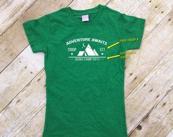 Adventure Awaits Girl Troop shirt. 3 or more shirts. Custom Girl Troop Shirt. Camp shirt. Camping shirts. Girls camp.