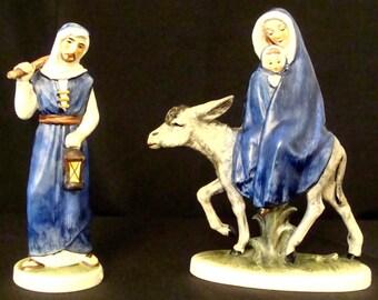 1950's Germany Goebel Flight into Egypt Figurines Religious Bible Figures Mary Jesus Joseph