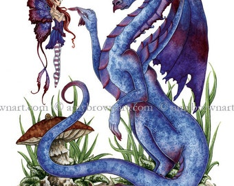 5x7 Attitude fairy and Dragon PRINT by Amy Brown
