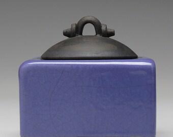 Raku Ceramic Box, handmade, purple and black,trinket box, treasure box, home decor,pottery