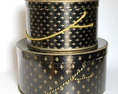 Vintage Fleur de Lis Hat Box Set Black and Gold Mid Century Home Decor Storage Hat Lover Gift
