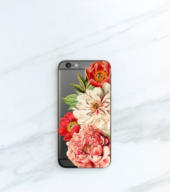 Large Peony Clear Case