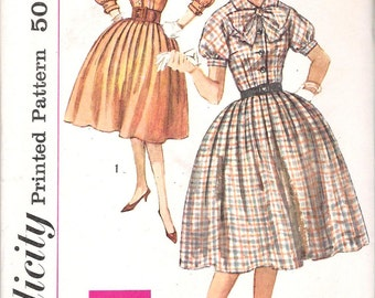 Simplicity 3151  UNCUT 1950s Shirtwaist Dress Vintage Vintage Sewing Pattern Bow Puffy Sleeves Full Skirt Size 12 or 14