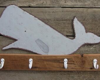 RECLAIMED BARN WOOD Whale Towel Rack - Original Hand Painted Hand Crafted - Michigan Barn Wood