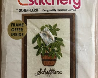 Jiffy Stitchery Schefflera Needlepoint Kit with Wool Yarn