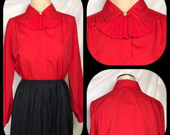 1970s Judy Bond True Red Blouse with Button on Self Ascot - Size 10