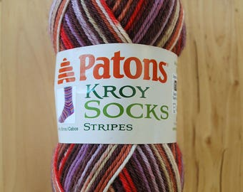 Sock Yarn - Patons Kroy Socks Stripes Wool Blend Yarn - Sultana Stripes