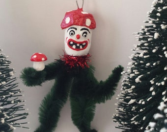 Vintage Style Chenille Mushroom Man Feather Tree Christmas Ornament