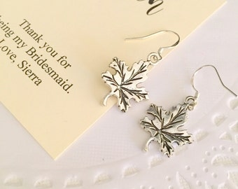 Autumn Leaf earring, bridesmaid gift, autumn wedding, silver plated.