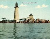 Antique Massachusetts Postcard - The Graves Light (Unused)