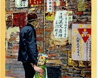 Vintage California Postcard - Reading the Latest News in Chinatown, San Francisco (Unused)