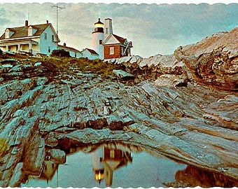 Vintage Maine Postcard - Pemaquid Point Light at Dusk (Unused)