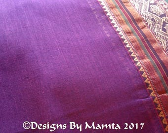 Purple Indian Cotton Saree Fabric By The Yard, Ilkal Sari, Ethnic Print Fabric, Sari Fabric By The Yard, Border Print Fabric, India Fabric