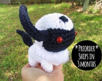 PREORDER -  Crochet - Chibi Pokemon Amigurumi - Absol. Dark Pokemon Plush. Goth Gift. Nintendo Gameboy / 3DS / Wii. Video Game Cosplay Prop