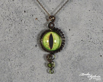 green DRAGON EYE NECKLACE - green eye necklace, evil eye jewelry, bronze necklace, steampunk jewelry, gothic jewelry, victorian pendant
