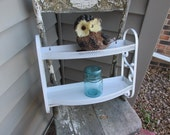 Upcycled Metal Shelf Unit White 2 Tiered with Towel Bar