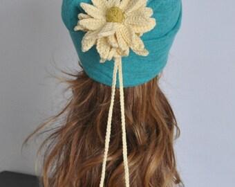 FLORAL HAT 1 - Mint - Crochet Flower Jersey Beanie/Hat