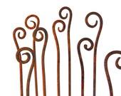 Scroll Garden Stakes -Sold Individually-Handmade- Metal Garden Art Home and Garden Decor