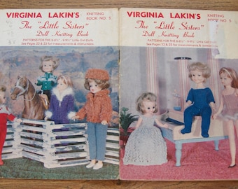 "Vintage 60s knitting patterns Virginia Lakin book 5 The Little Sisters doll knitting book 8-8 1/2"" - 9-9 1/2"" dolls"