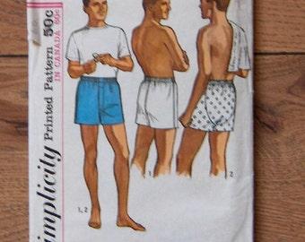 vintage 60s simplicity pattern 5495 men shorts underwear sz 36