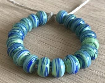 Sea Weed Swirls  - 20 Handmade Lampwork Beads SW 236