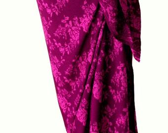Beach Sarong Pareo Wrap Skirt Women's Clothing Beach Coverup Sarong Skirt - Magenta Wild Roses Batik Sarong - Swimsuit Cover Up