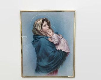 Vintage Virgin Mary & Baby Jesus Framed Print - Wall Hanging  - Blessed Mother, Madonna
