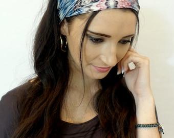 Wide Headband Tie Dye Abstract Head Wrap Blue Pink Cream Gray Yoga Turband Hair Wrap