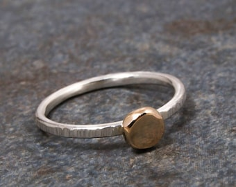 Silver and Gold Ring, Silver Ring, Sterling Silver Ring, 14k Gold, Gold Ring, 14K Gold Ring, Stackable Ring, Emma's Jewels