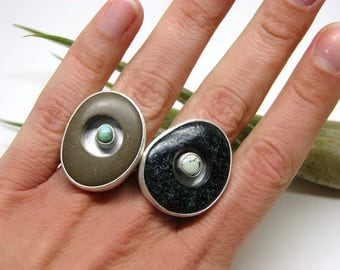 OPEN - Black Great Lakes Beach Stone and Prince Mine Variscite Silver Modern Cocktail Ring