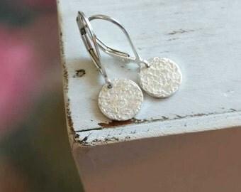 Silver Dangle Earrings | Sterling Silver Everyday Earrings | Dainty Silver Jewelry | Silver Leverback Earrings | Handmade Artisan | Hammered