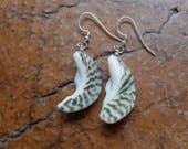 Ocean moon - shell earrings - natural earring - beach jewelry handmade in Australia - green white jewellery