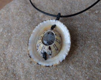 Shell, Tourmaline in Quartz pendant necklace - reversible ocean jewellery unique, natural, elegant handmade in Australia, circle pendant