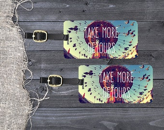Luggage Tag Set Take More Detours Vintage Effect Carnival Swing Ride with Personalized Backs - Metal Tags Single Tag or Set Available