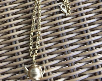 Gold plated teapot charm necklace.-rollo chain necklace--teapot charm necklace-