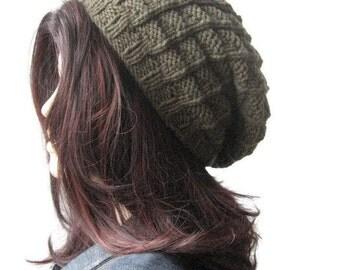 Moss Green Hand Knit Hat, Vegan Beanie, Green Slouchy Beanie, Green Slouchy Hat, Winter Hat, Knit Slouchy Hat, Fall Fashion, Womens Hat