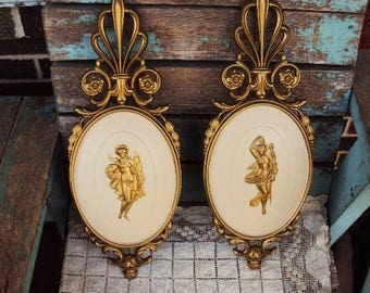 Vintage French Provincial Rococo Plaque Set Pictures Wall Hangings Ornate Frame hollywood regency Baroque Grecian Lady Goddess  Plaques