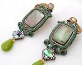 green long chandelier earrings | jade abalone shell statement jewelry  | mother of pearl jewels |clip on large earrings | soutache earrings