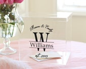 Personalized Wedding Card Box Clear Acrylic Monogrammed With Last Name (Item EEBB200)