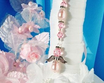 Pink Wedding Bouquet Charm Angel Bridal Bouquet Charm Swarovski Crystal and Pearl Wedding Angel