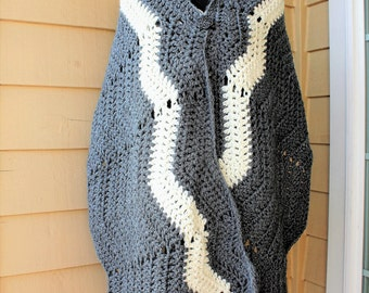 Gray and White Fall/Winter Crochet Wrap Shawl