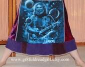 Jerry Garcia Velvet Grateful Dead T Skirt Tie Dye Corduroy Festival Hippie Shirt OOAK Patchwork