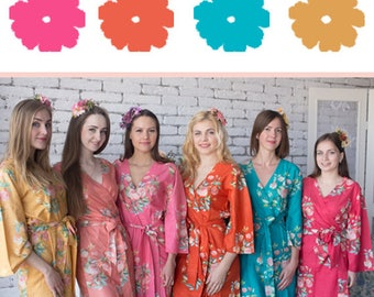 Strawberry, Orange, Turquoise & Gold  Wedding Color Bridesmaids Robes - Premium Rayon Fabric - Wider Belt and Lapels - Wider Kimono sleeves