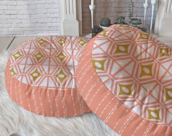 Round and Square Floor Pillows // Retro Geometric // Floor Cushion // Dorm Decor // Midcentury Modern // Metro Fusion Design // Pink Gold