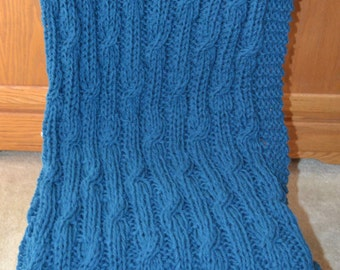 Ocean Blue Cable Knit Afghan~Blue~Cable Knit~Lap Throw~Afghan~Blanket~Knit