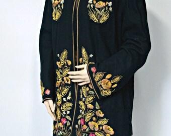 1940's Coat Mexican Southwest Felt Coat Black Embroiderery Folkwear Jacket  Size Large