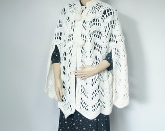Cape Shawl Vintage Crochet Old Fashioned Creamy White Wedding Wrap Chevron