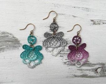 Jewel Tone & Custom Color Hand Painted Boho Antique Upcycled Textile Statement Earrings / Vintage Lightweight Recycled Crocheted Lace
