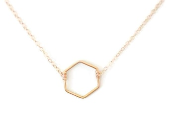 tiny necklace, small necklace, delicate necklace, small hexagon, geometric necklace, layering necklace, bridesmaids gift, N196